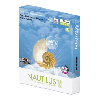 "Бумага NAUTILUS SUPER WHITE, RECYCLED, А4, 80 г/м2, 500 л., класс ""А"", 150% (CIE)"